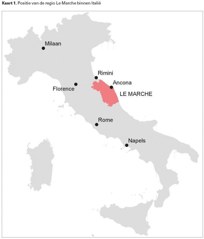 Kaart 1. Positie van de regio Le Marche binnen Italië