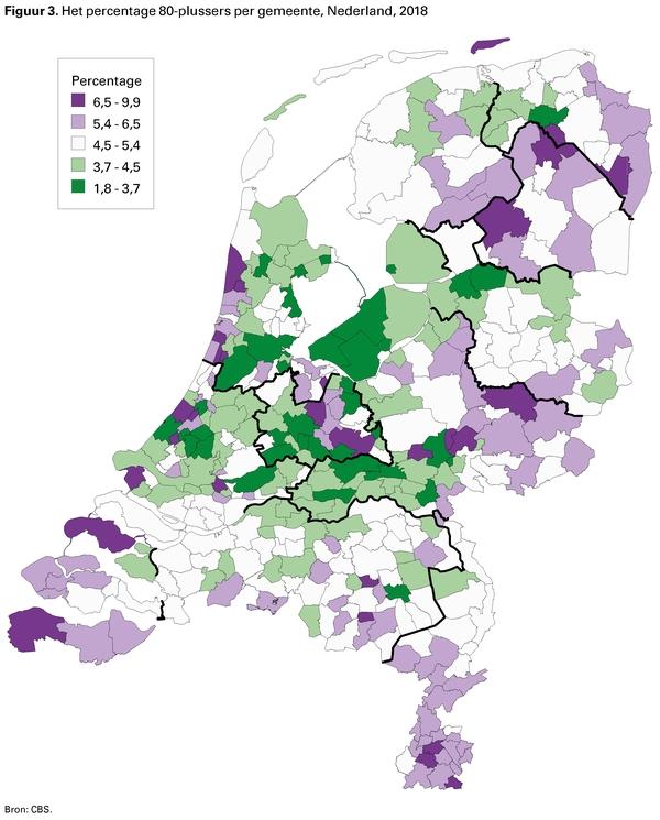 Figuur 3. Het percentage 80-plussers per gemeente, Nederland, 2018