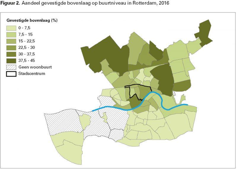 Figuur 2. Aandeel gevestigde bovenlaag op buurtniveau in Rotterdam, 2016