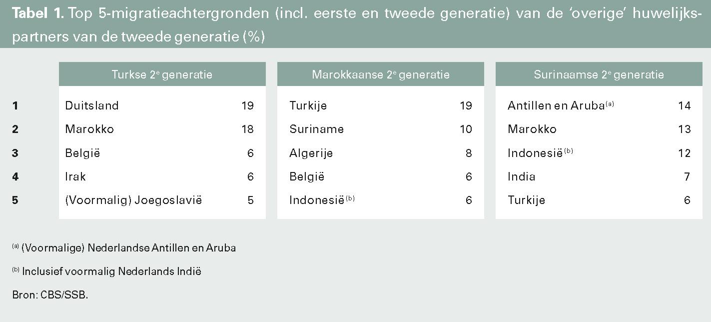 Top 5-migratieachtergronden (incl. eerste en tweede generatie) van de 'overige' huwelijkspartners van de tweede generatie (%)