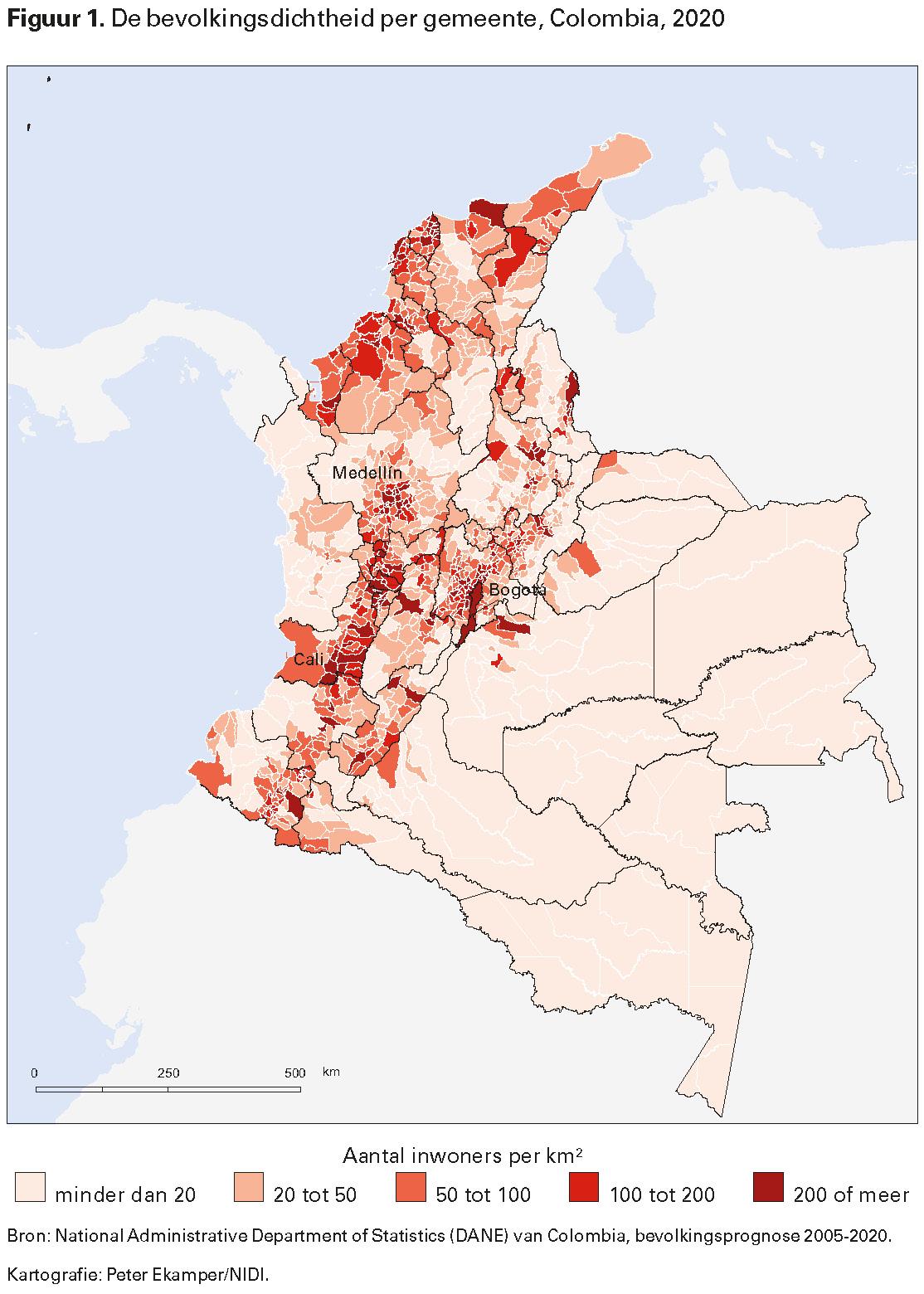 Figuur 1. De bevolkingsdichtheid per gemeente, Colombia, 2020