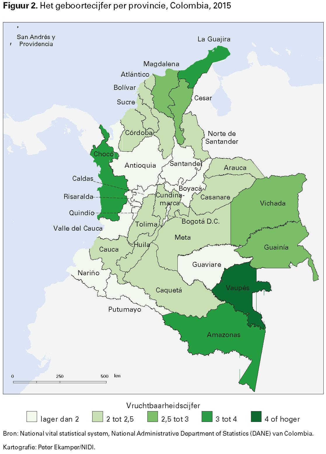 Figuur 2. Het geboortecijfer per provincie, Colombia, 2015