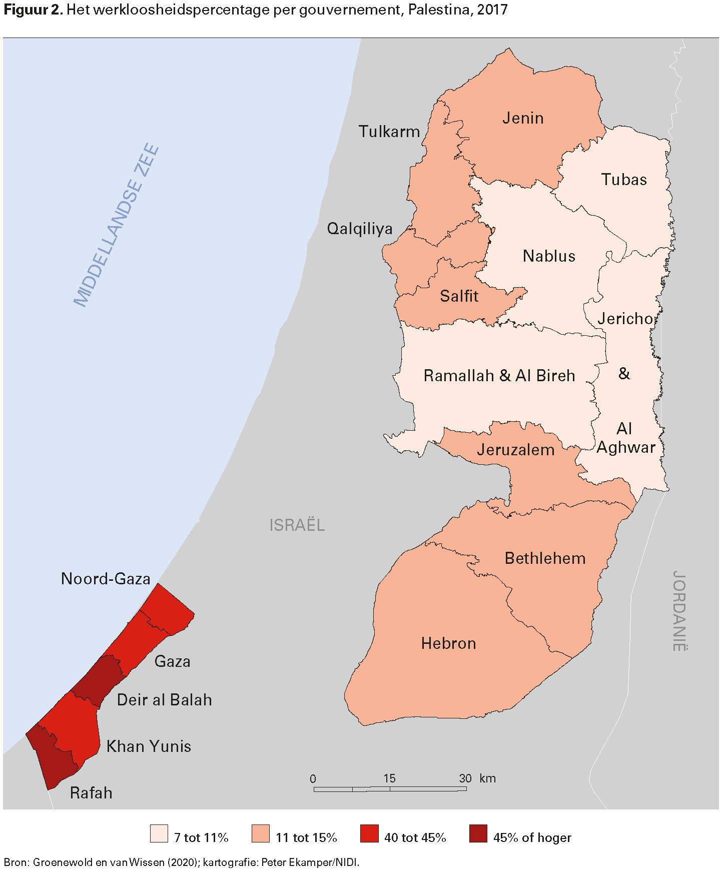 Figuur 2. Het werkloosheidspercentage per gouvernement, Palestina, 2017